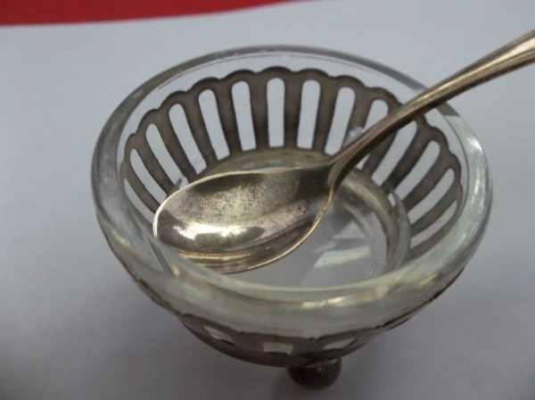 Vintage 925 Sterling Silver Salt Cellar Withspoon