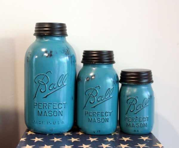 mason jar canister set kitchen 3 Piece Aqua Mason Jar Canister Set Kitchen by HereOnTheFarm