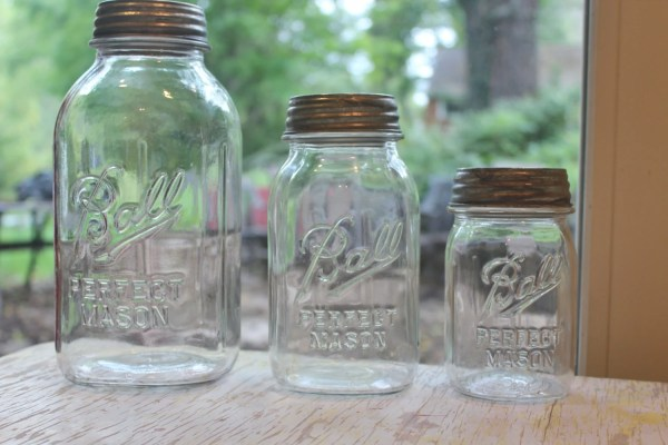 mason jar canister set kitchen Vintage Mason Jar Clear Kitchen Canister Set Ribbed jars