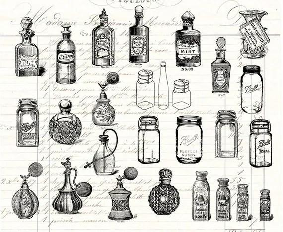 Digital Collage Sheet 22 Vintage Bottles Perfume Bottle