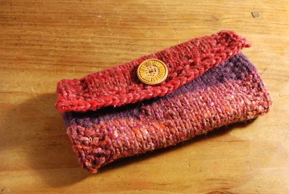 Knitted Noro wool and silk wallet or clutch bag