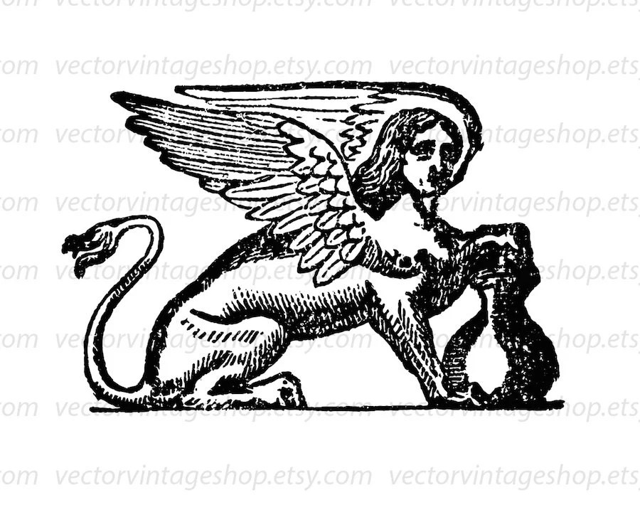 Sphinx Vector Graphic Instant Download, Mythical Creature