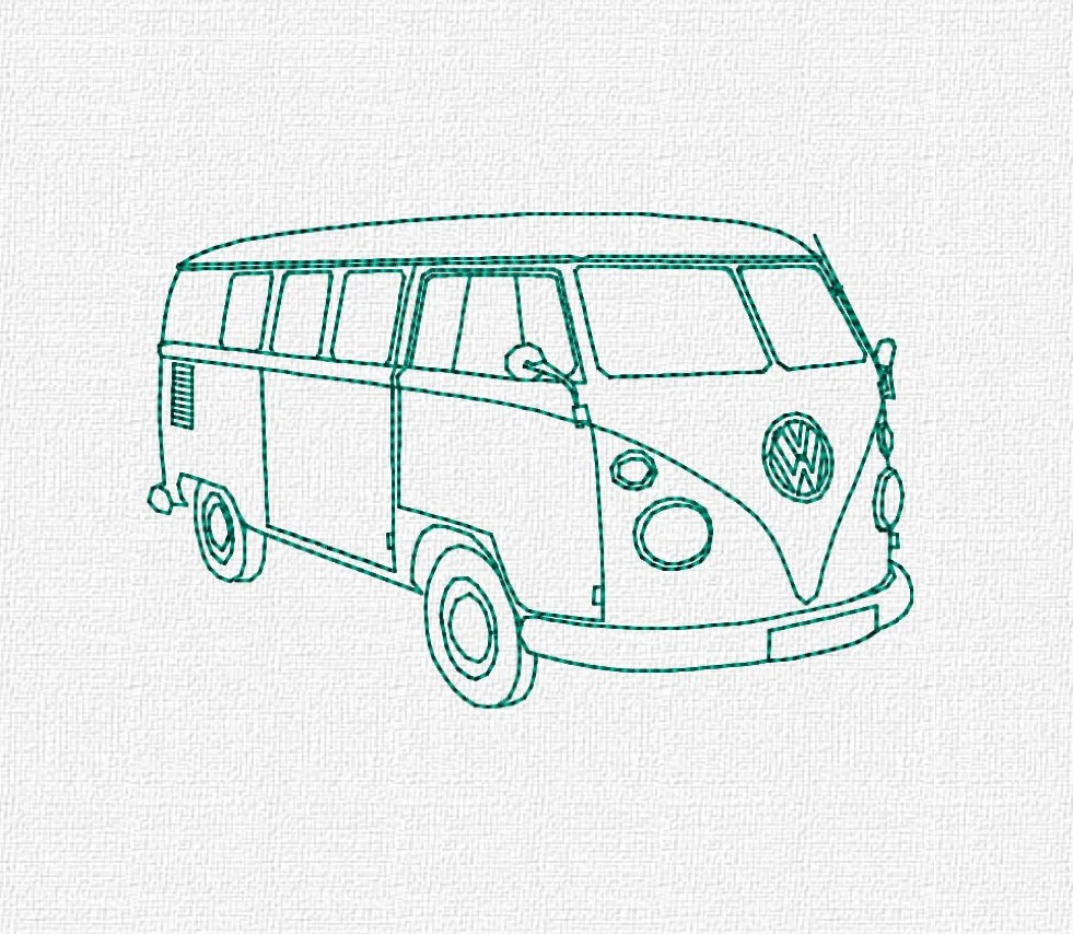 Volkswagon Bus Machine Embroidery Pattern Design Download 4x4