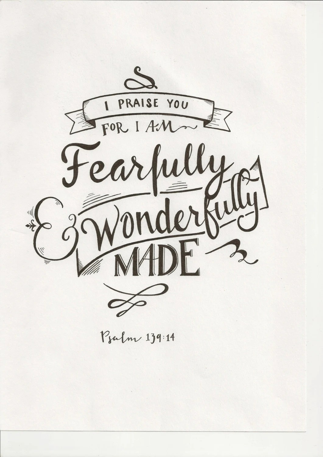 Items similar to Psalm 139:14 Typography on Etsy