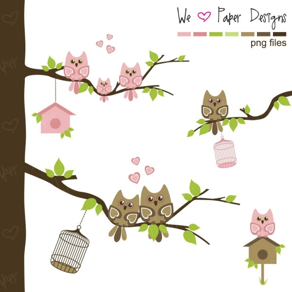 Pink And Brown Owl Family Clip Art - Owls Branches Bird Houses Cages