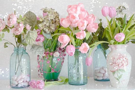 Shabby Chic Flower Photography Dreamy Tulips Roses Mason Jars