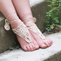 Barefoot Sandles Ivory Nude Shoes Lace Sandals Wedding