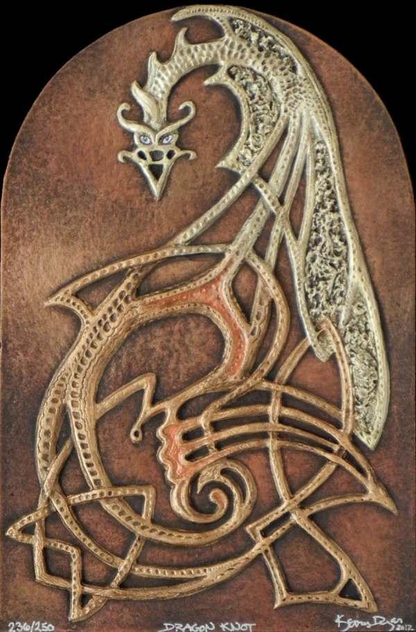 Dragon Knot Cast Paper Fantasy Art Celtic Gold