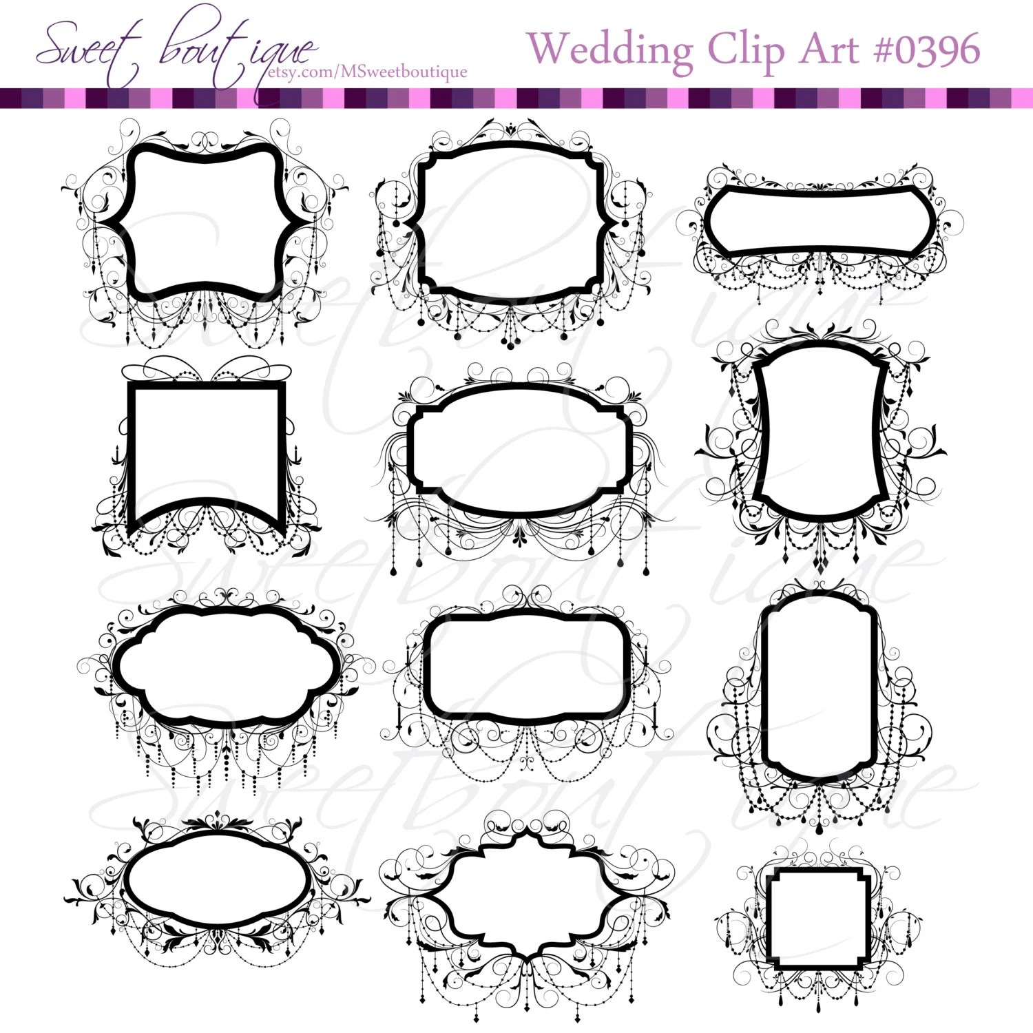 Wedding Clip Art Frames Black Chandelier Ornate Frame