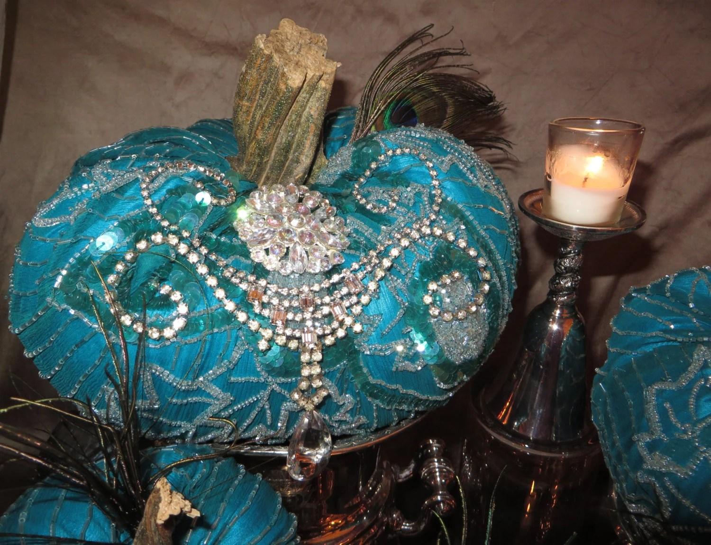 Turquoise Pumpkins Silk Beaded Real Pumpkin Stems Set of