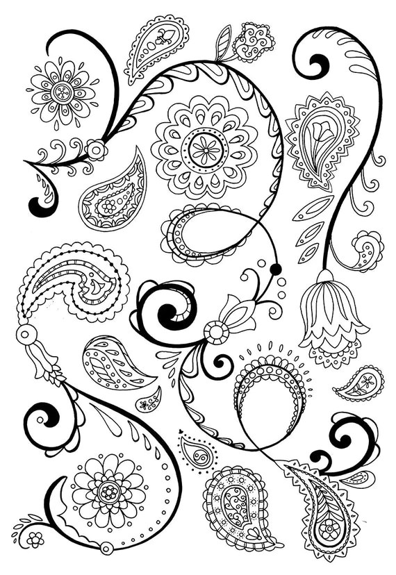 Bohemian Paisley and Flower pattern for hipsters hippies and