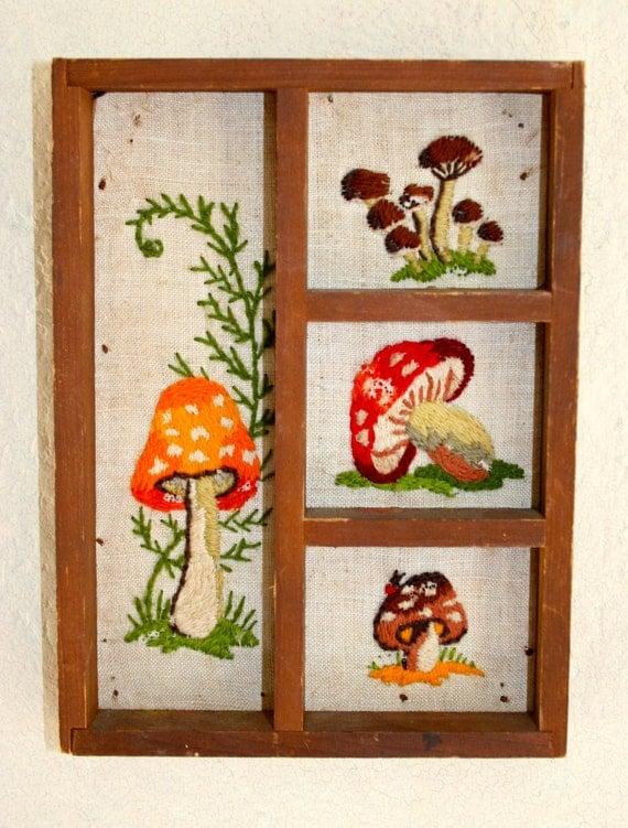 Vintage Mushroom Embroidered Wall Art