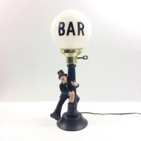 Vintage Bar Lamp Post Drunk with Charlie Chaplin