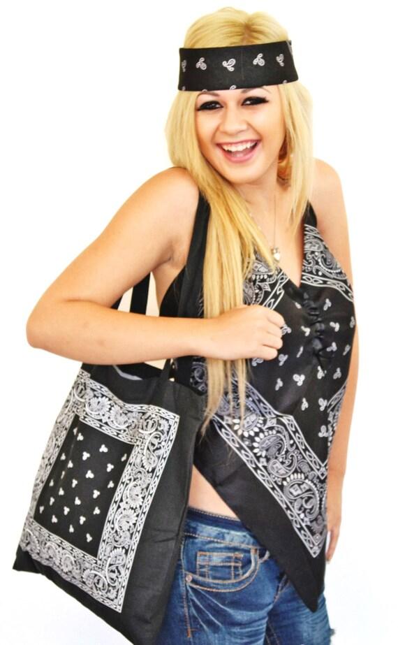 Black Ladies Bandana Halter Top Black Tote Bag  Black Head