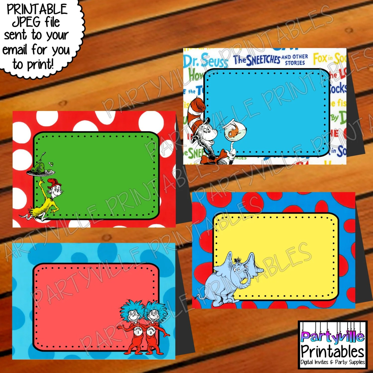 Dr Seuss Food Tents Place Cards Food Tags By Partyvilleprintables
