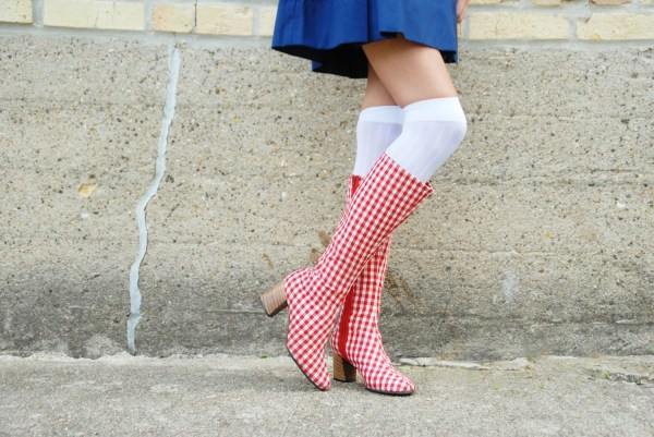 Vintage 1960s Boots Red White Gingham Mod - Tall