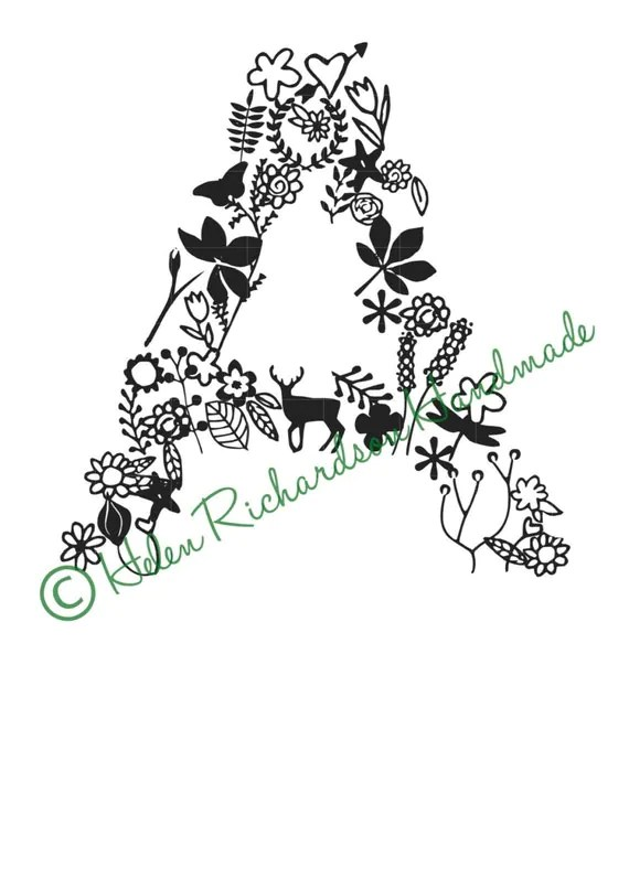 Floral Alphabet letter A paper cutting template for
