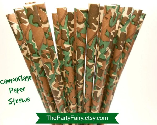 Paper Straws 25 Camouflage Print Camo Hunting