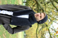 Men's Scarf Anthracite Chunky Scarf for Men Unisex Scarf