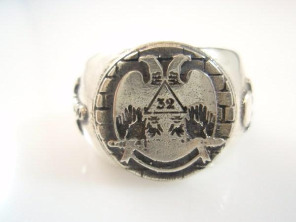 Sterling Silver 32 Degree Masonic Free Mason Ring Freemasonry