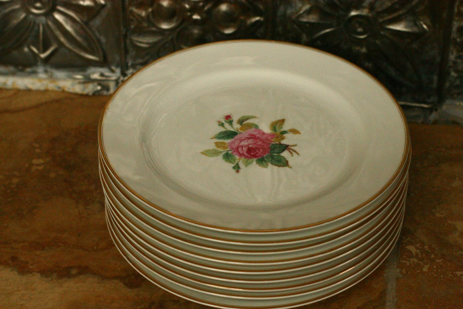 sale dinner plate in the sharon gold trim pattern by. Black Bedroom Furniture Sets. Home Design Ideas
