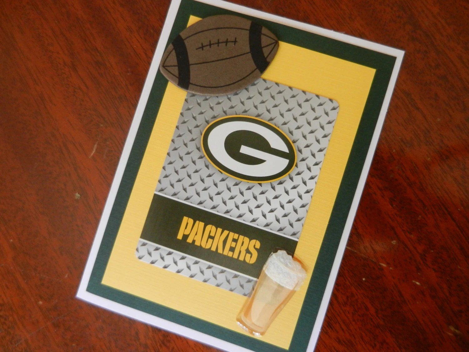 Green Bay Packers Happy Birthday Football Handmade Greeting