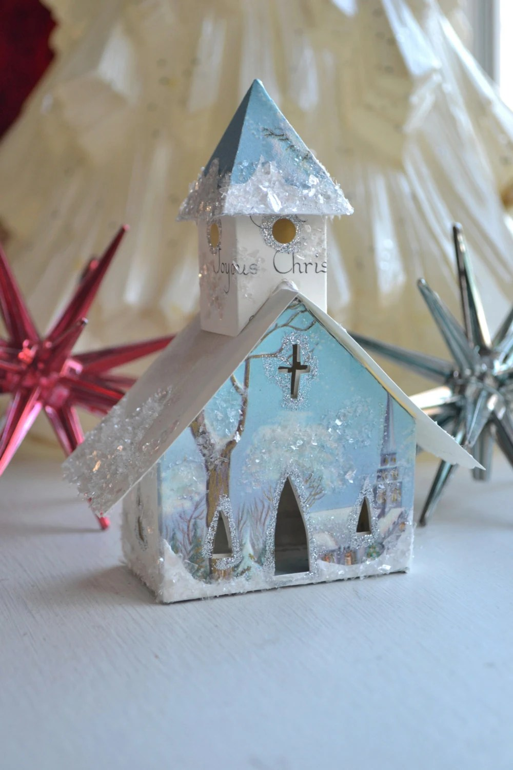 Vintage Christmas Card Glitter House Church Illuminating