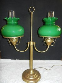 Vintage double student bankers desk lamp green ruffled glass