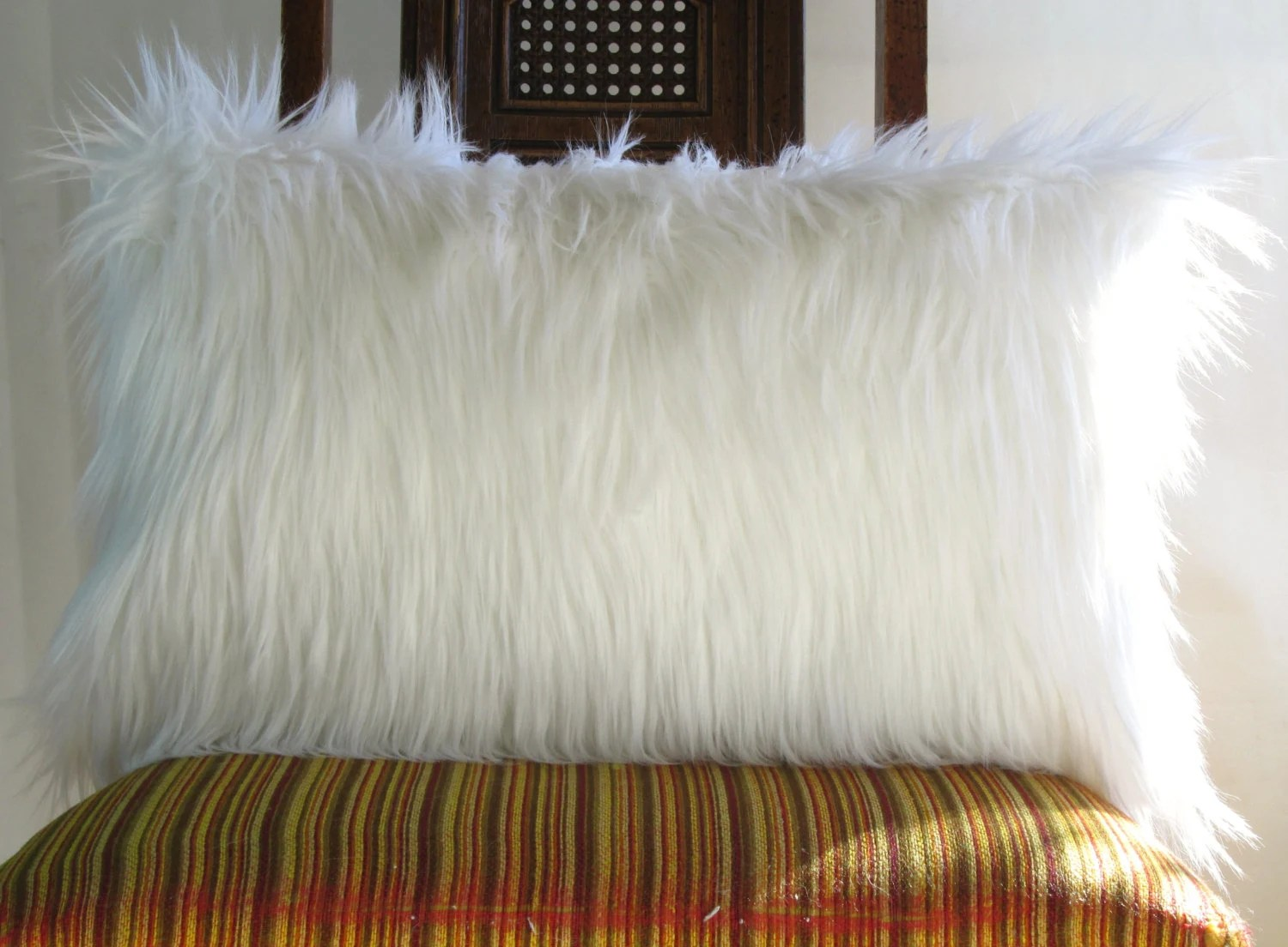 White fur pillow covers 20X26 Standard pillow decorative white