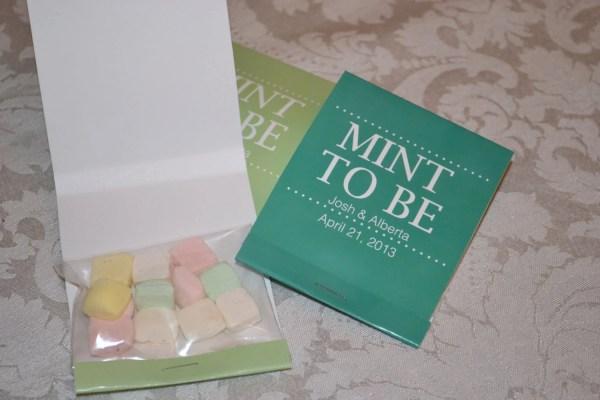 Custom Large Mint Wedding Matchbook