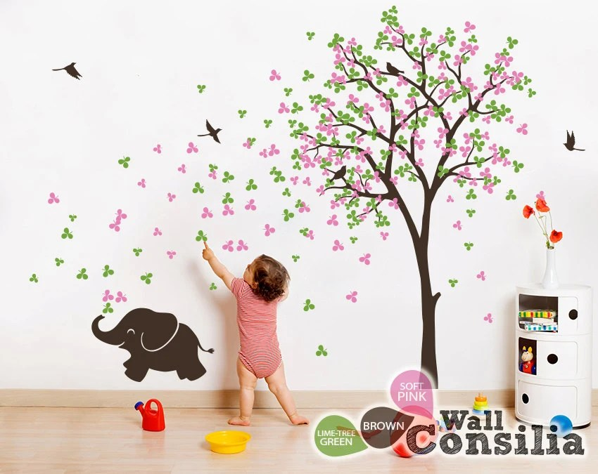 Baby Kinderzimmer Wandtattoo Baum Wall Decal Elefant