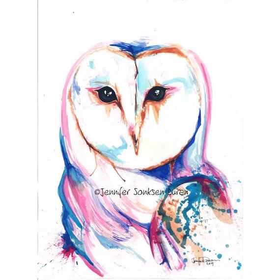 Items similar to Modern Watercolor Art Painting Barn Owl