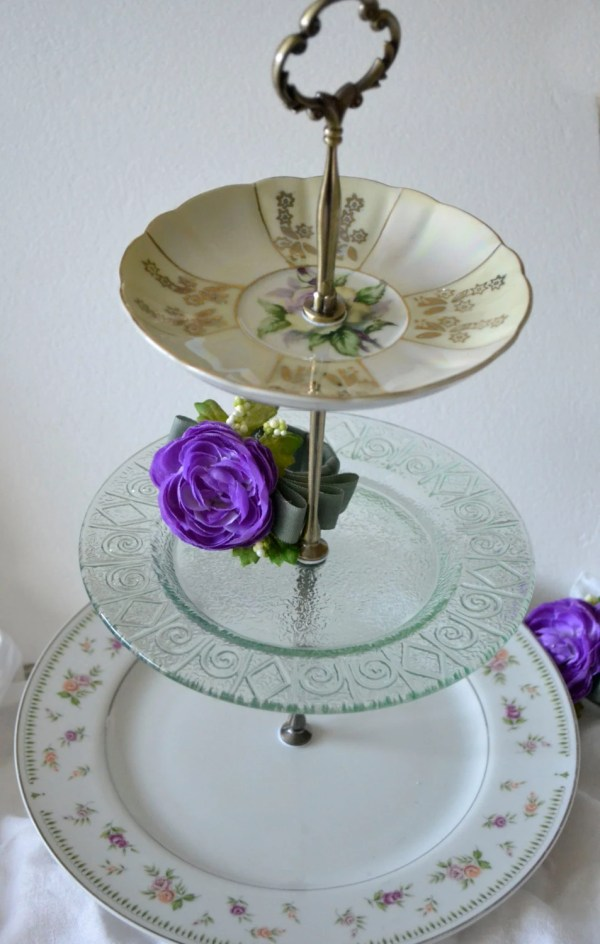 Three Tiered Cake Stand Pale Green Glass Plate 3 Tier