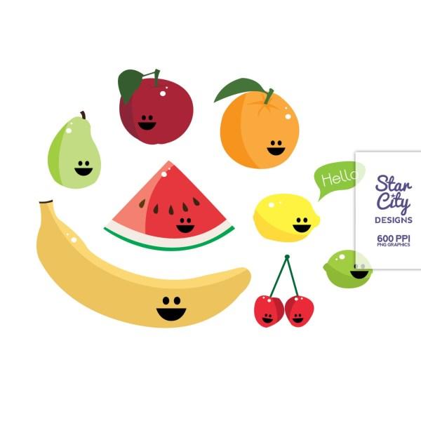 Smiling Fruits Clip Art Set And Digital Paper Starcitydesign