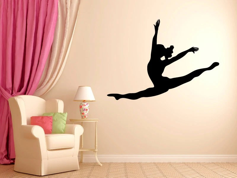 Leaping Dancer Wall Decal Vinyl Sticker Dance Studio by