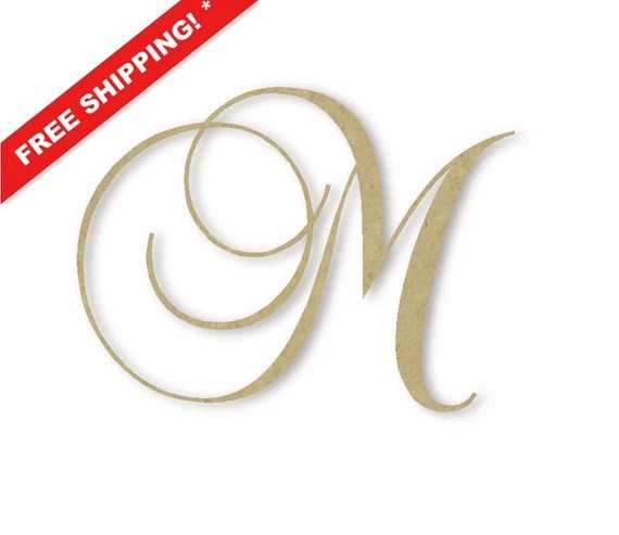 "Wooden Monogram Letter ""M"" - Large or Small, Unfinished, Cursive ..."