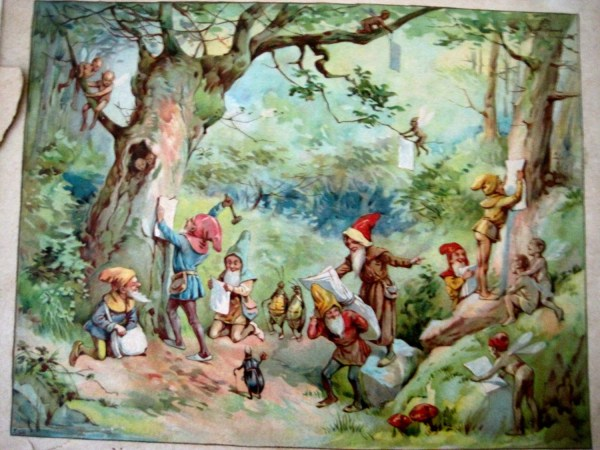 Vintage Book Of Gnomes Nailing Invitations Illustration