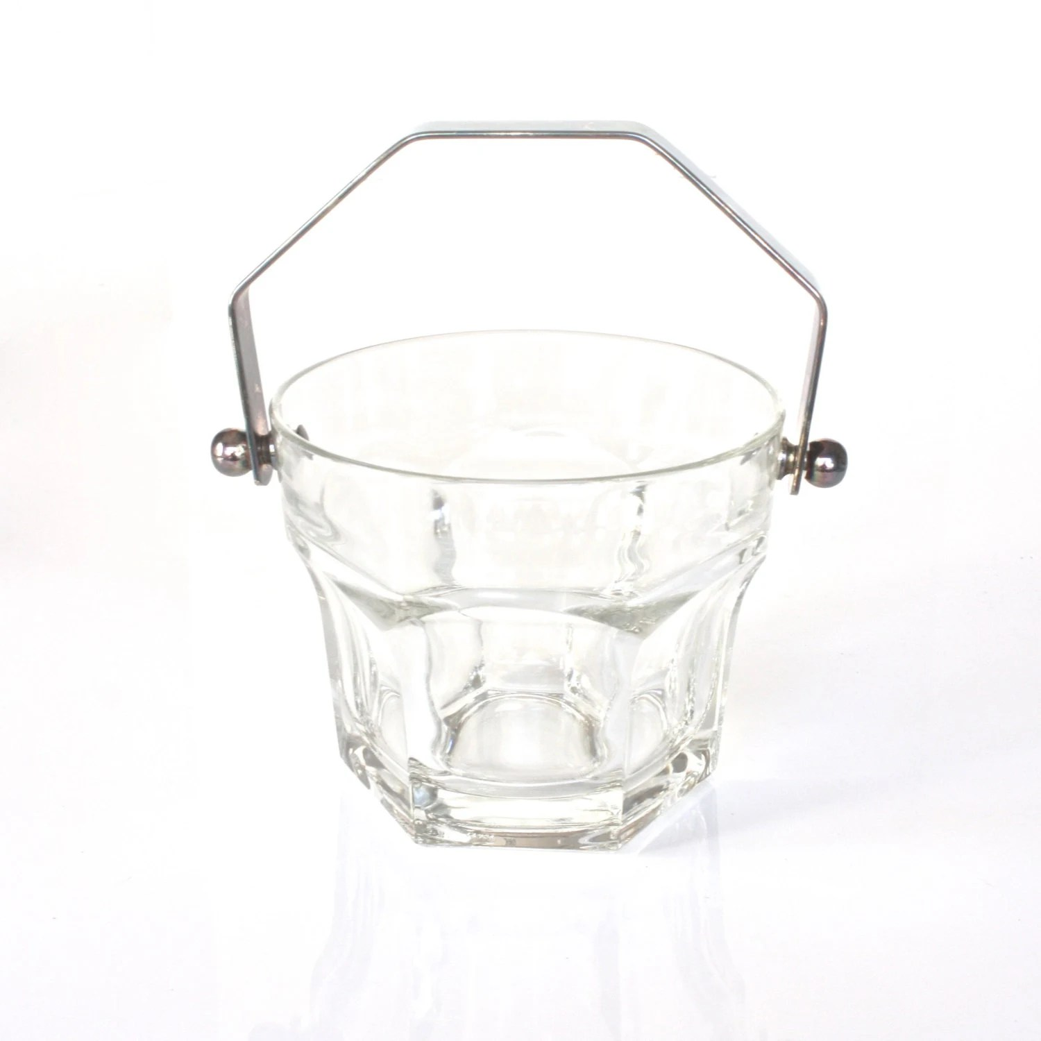 Vintage S Glass Ice Bucket Embossed Glass Table Wine