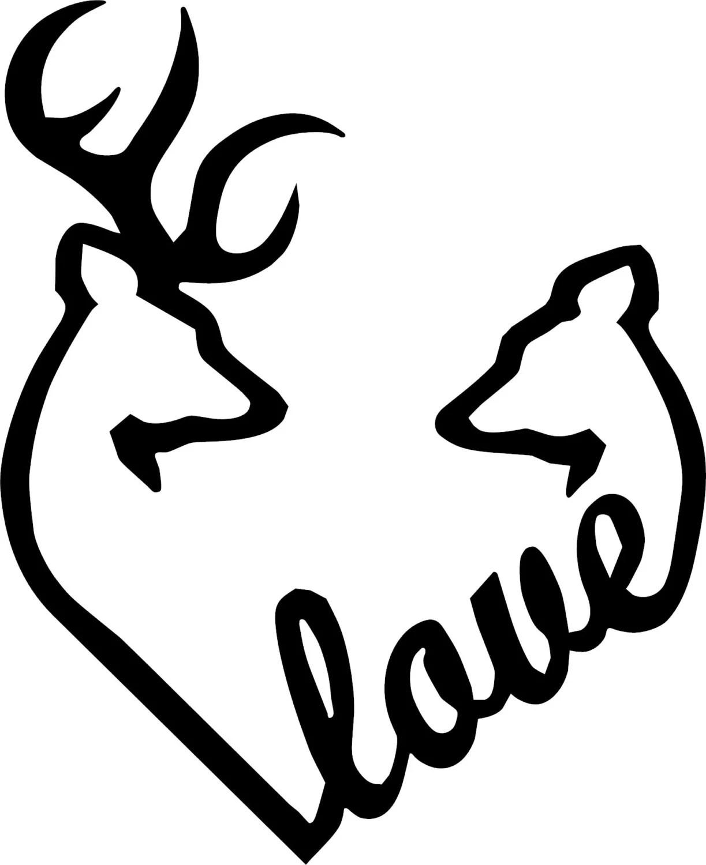 Browning Love Heart Deer Buck And Doe Vinyl Decal