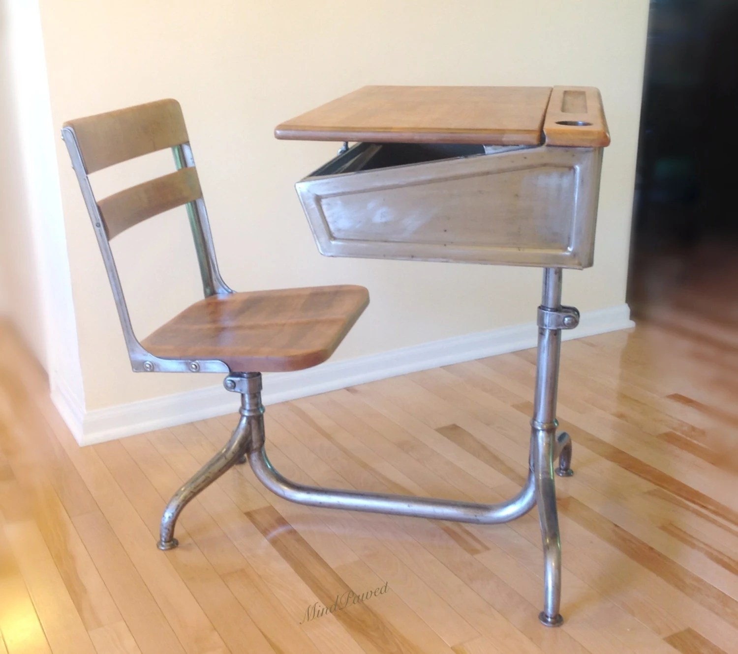vintage school desk chair combo 111 navy industrial steel and wood with