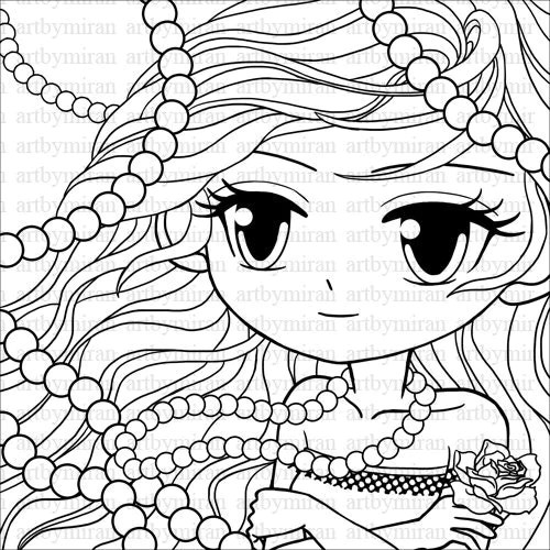 Digi Stamp Pearl Big eyed girl Coloring page Pretty girl