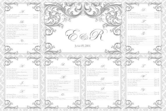 DIY Printable Wedding Seating Chart Instant by