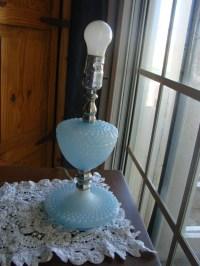 Vintage C.N. Burman mid century 50s Blue Milk Glass Hobnail