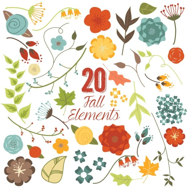 fall flowers and leaves clip art