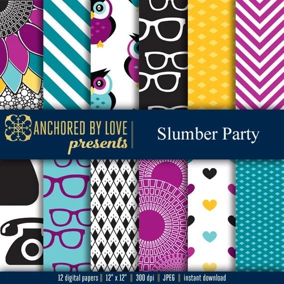 Slumber Party Digital Paper Girly Digital Paper Tween