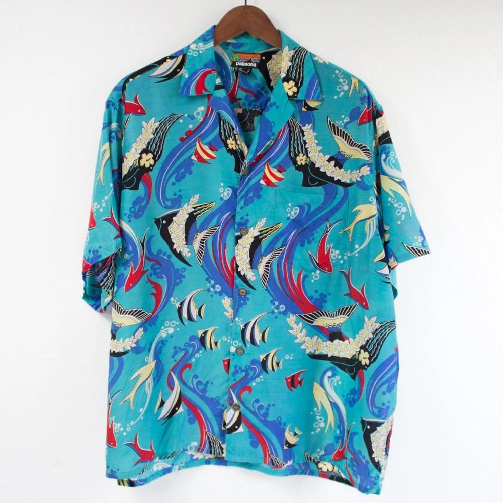 Pataloha blue floral fish coral hawaiian shirt for Fish hawaiian shirt