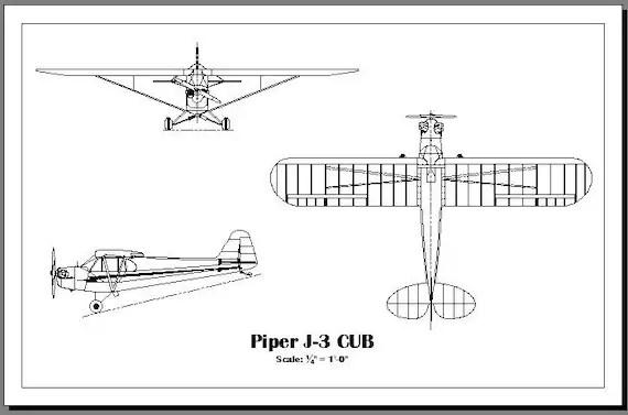 Items similar to Piper J-3 Cub 3-view drawing / print on Etsy