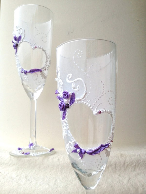 Hand Painted Wedding Champagne Glasses Purebeautyart