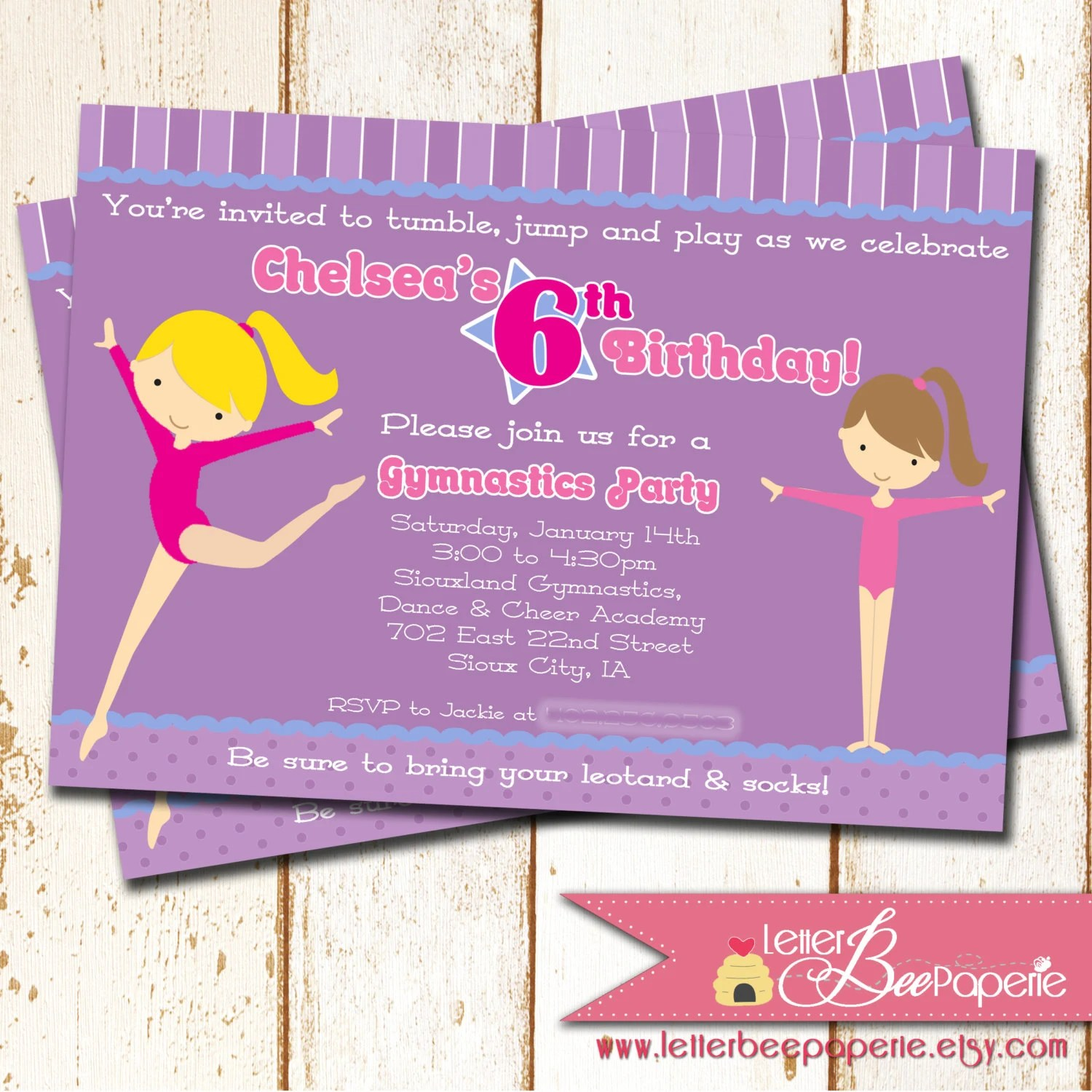 Gymnastics Theme Birthday Party Invitation 5x7 Printable