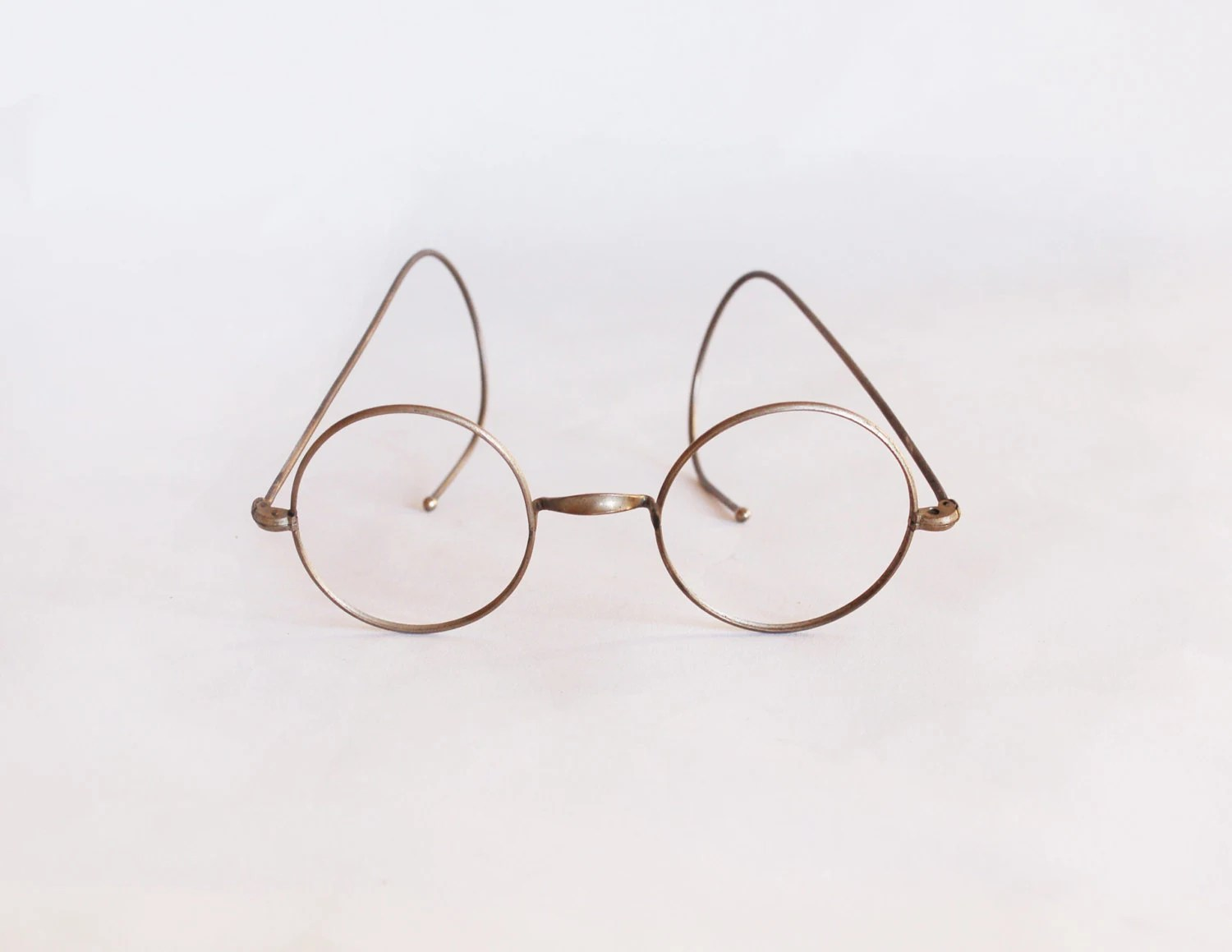 Antique Round Eyeglasses Early S Deadstock Silver